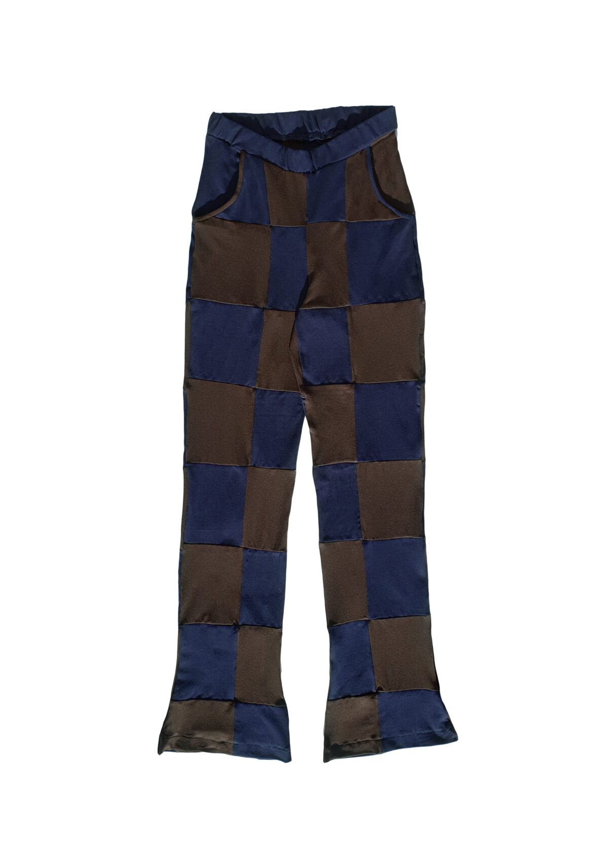 The Checker Track Pant - Brown/Blue
